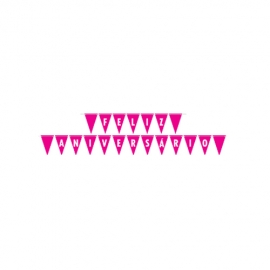 FAIXA FELIZ ANIV LIVE COLORS PINK C/1