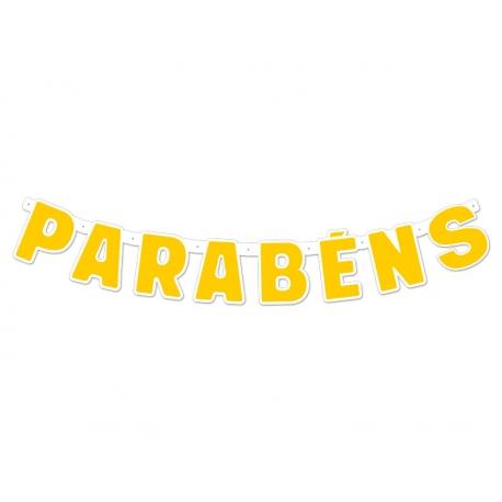 FAIXA PARABENS FESTA COLORS AMARELO C/1