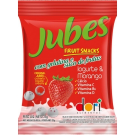 JUBES FRUIT SNACKS IOGURTE MORANGO 25G