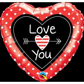 BALAO 18 CORACAO LOVE YOU-PONTOS C/1