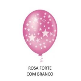 BALAO 10 ESTRELINHA BIG ROSA/BCO C/25