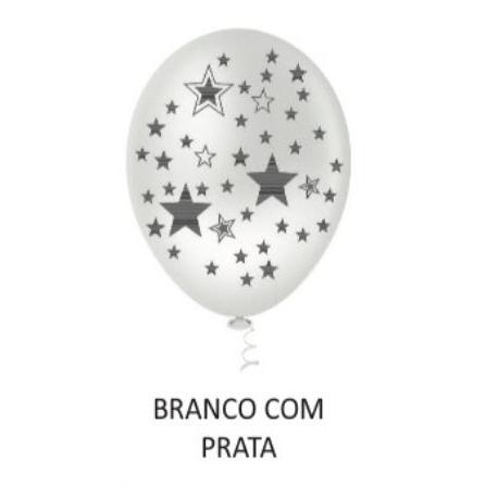 BALAO 10 ESTRELINHA BIG BCO/PRATA C/25