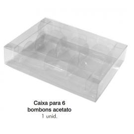 CAIXA P/ 6 BOMBONS ACETATO C/1