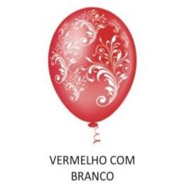 BALAO 10 ARABESCO FLORAL VERM/BRAN C/25