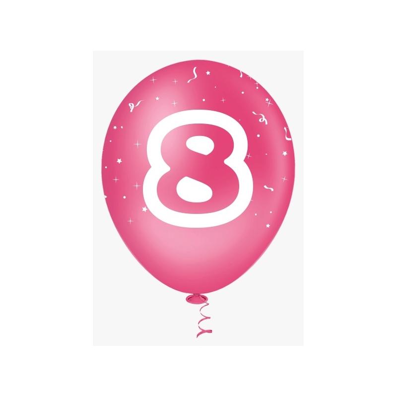 BALAO 10 DEC NUM OITO PINK/BRAN C/25