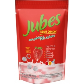 JUBES FRUIT SNACKS IOGURTE MORANGO 100G