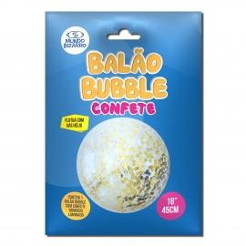 BALAO BUBBLE C/ CONFETE DOURADO 18 C/1