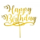 TOPO DE BOLO HAPPY BIRTHDAY DOURADO UNID
