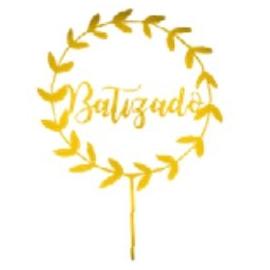 TOPO DE BOLO BATIZADO DOURADO UNIDADE