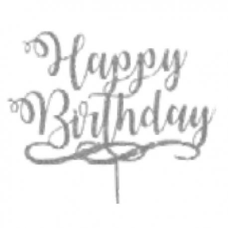 TOPO BOLO HAPPY BIRTHDAY PRATA COM GLITTER UN