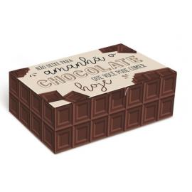 CAIXA PARA 6 BRIGADEIROS MOTIVO CHOCOLATE - 12 X 8 X 3,5 CM - 1 UN