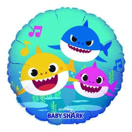 BALAO METALIZADO REDONDO 45CM BABY SHARK